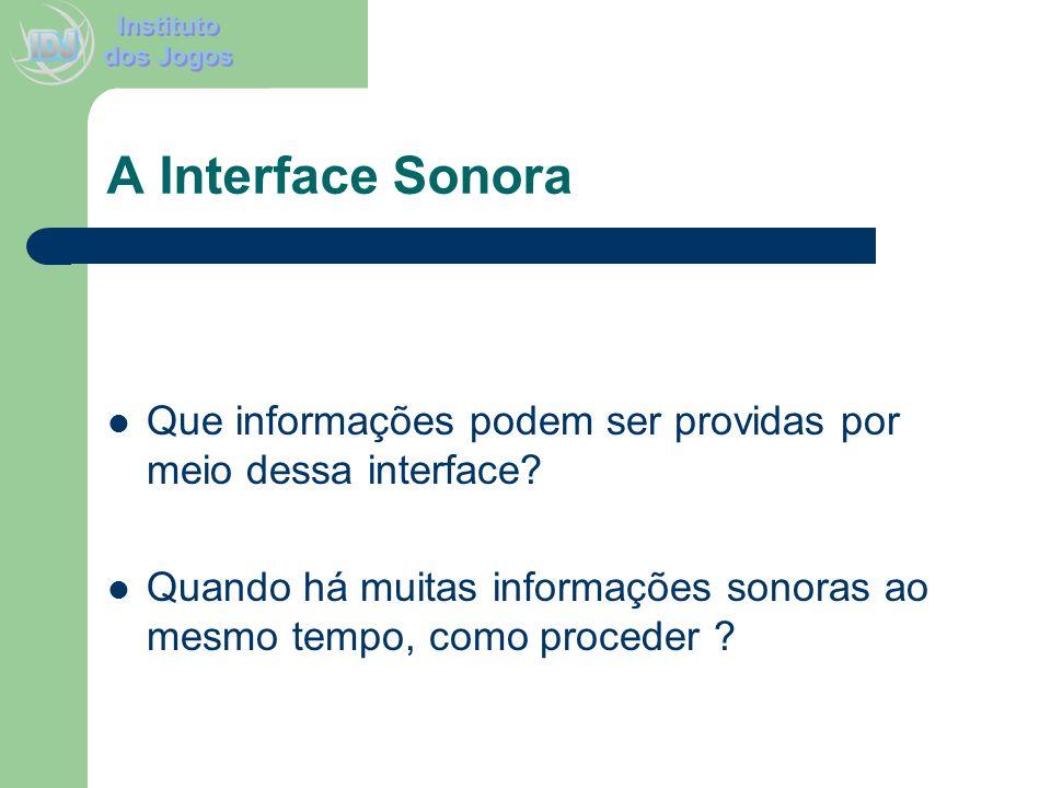 A Interface Sonora Que informações podem ser providas por meio dessa interface? Quando há muitas informações sonoras ao mesmo tempo, como proceder ?