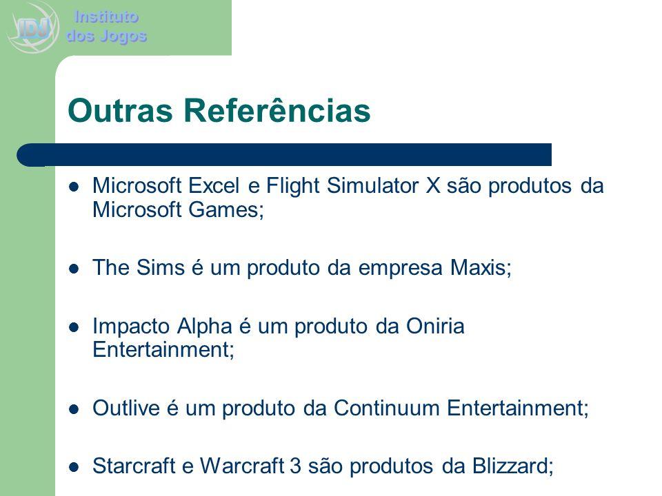 Outras Referências Microsoft Excel e Flight Simulator X são produtos da Microsoft Games; The Sims é um produto da empresa Maxis; Impacto Alpha é um pr