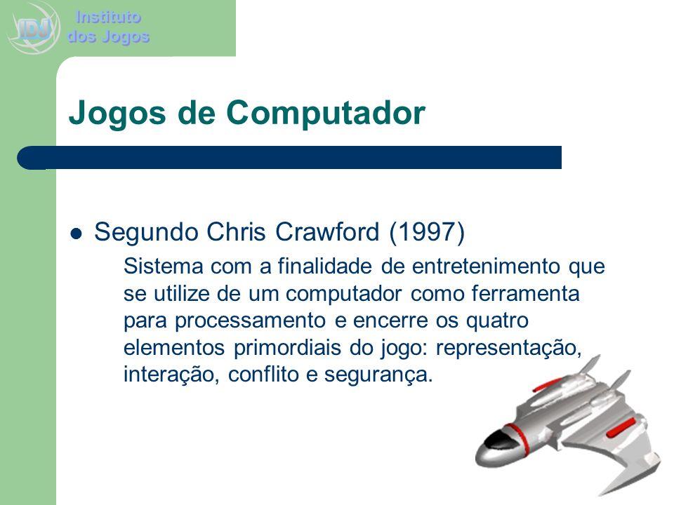 Jogos de Computador Segundo Chris Crawford (1997) Sistema com a finalidade de entretenimento que se utilize de um computador como ferramenta para proc