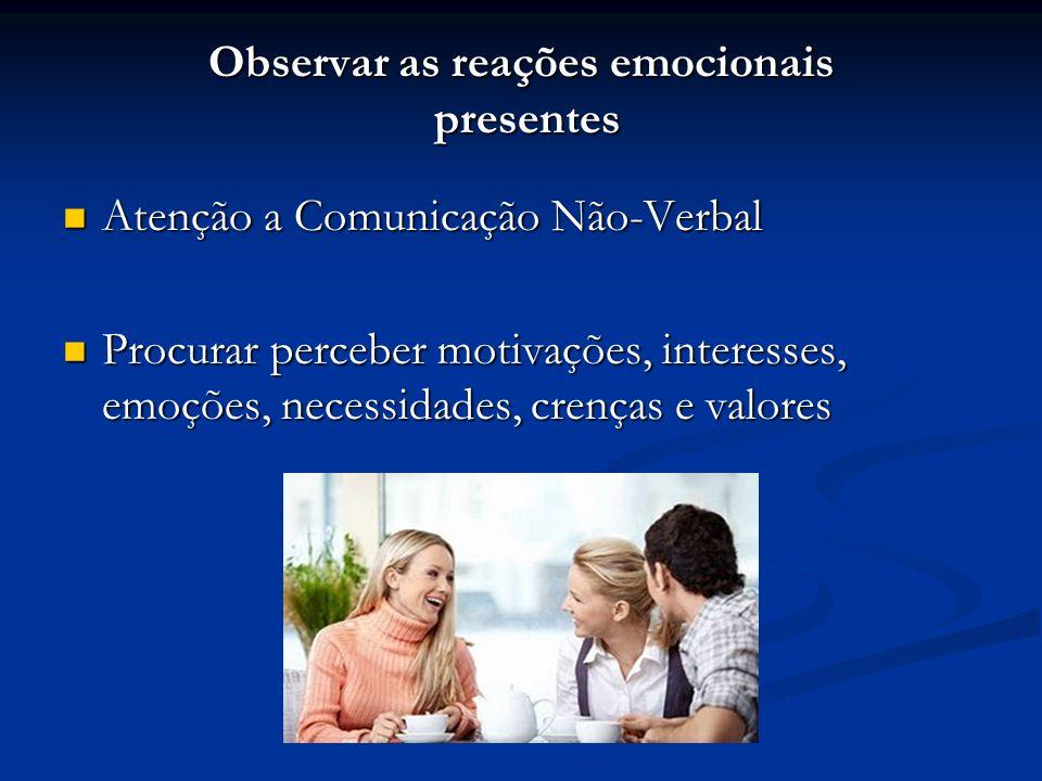 Escutar e compreender a mensagem inteira (verbal e não verbal) Dar sinais que estamos prestando atenção, como: Aham, Uhum, Ah, é.