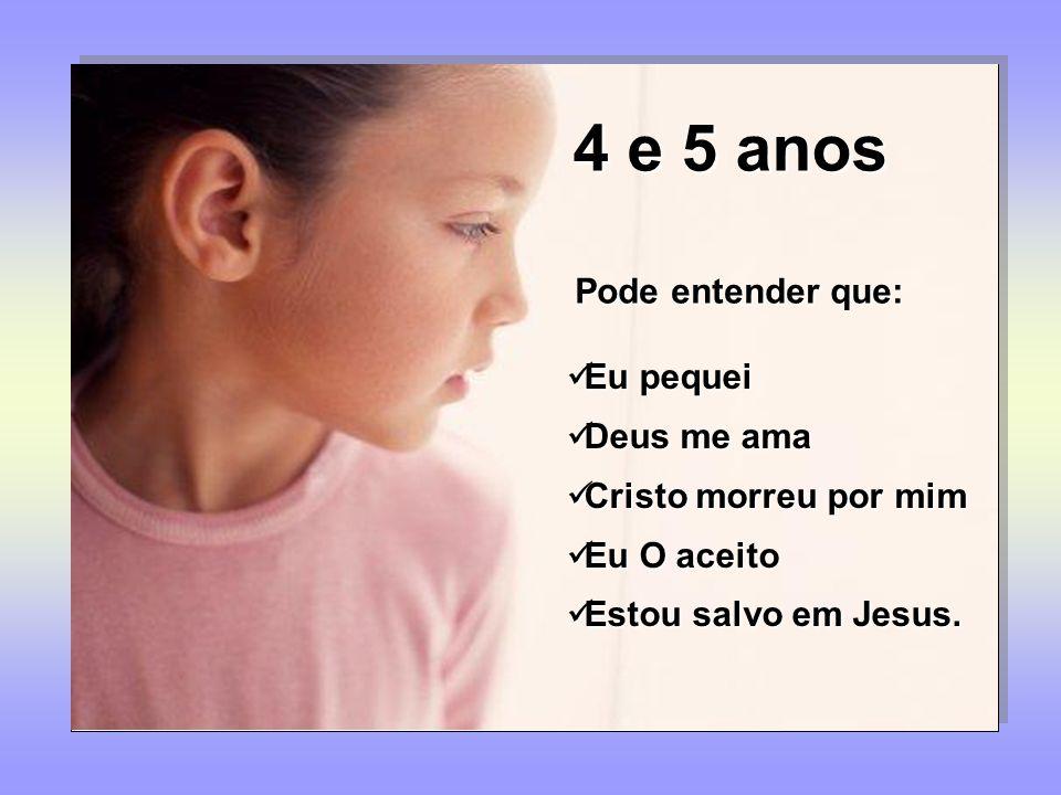 4 e 5 anos Pode entender que: Eu pequei Deus me ama Cristo morreu por mim Eu O aceito Estou salvo em Jesus.