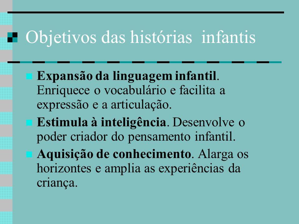 Objetivos das histórias infantis Expansão da linguagem infantil. Enriquece o vocabulário e facilita a expressão e a articulação. Estimula à inteligênc