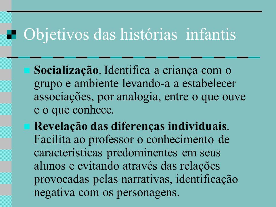 Objetivos das histórias infantis Socialização. Identifica a criança com o grupo e ambiente levando-a a estabelecer associações, por analogia, entre o