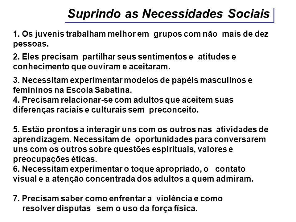 Suprindo as Necessidades Sociais 1. Os juvenis trabalham melhor em grupos com não mais de dez pessoas. 2. Eles precisam partilhar seus sentimentos e a