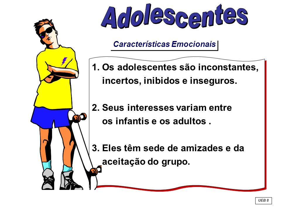 Características Emocionais 1. Os adolescentes são inconstantes, incertos, inibidos e inseguros. 2. Seus interesses variam entre os infantis e os adult