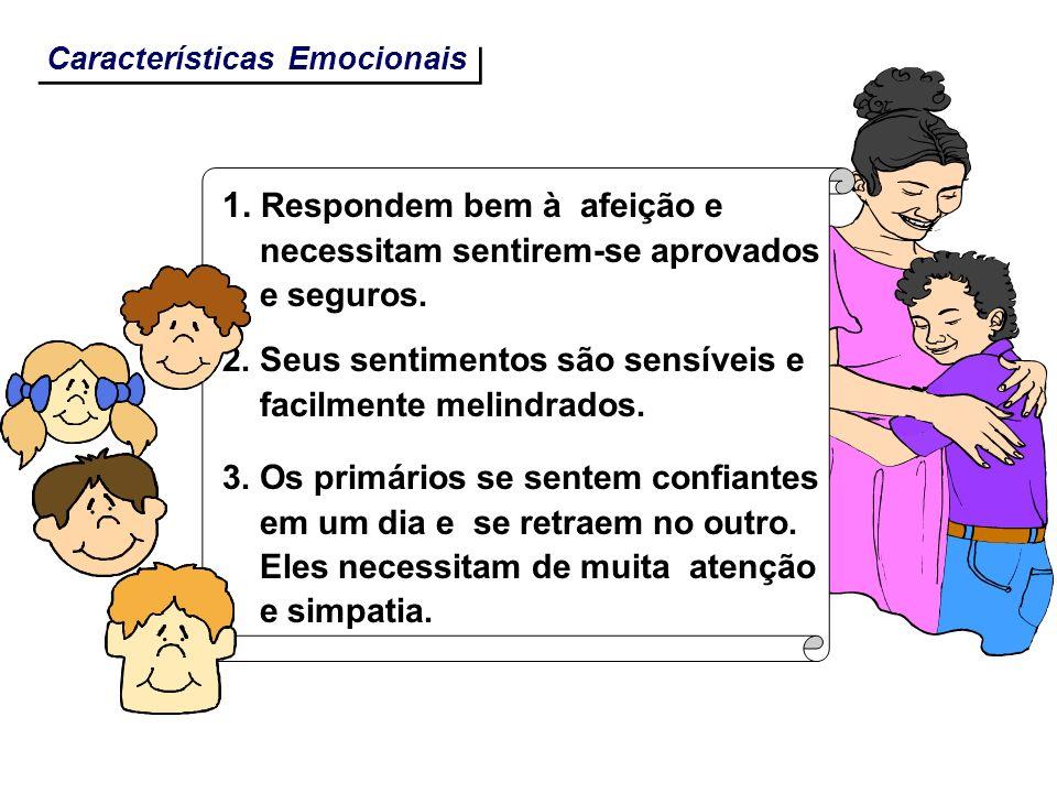 Características Emocionais 1. Respondem bem à afeição e necessitam sentirem-se aprovados e seguros. 2. Seus sentimentos são sensíveis e facilmente mel