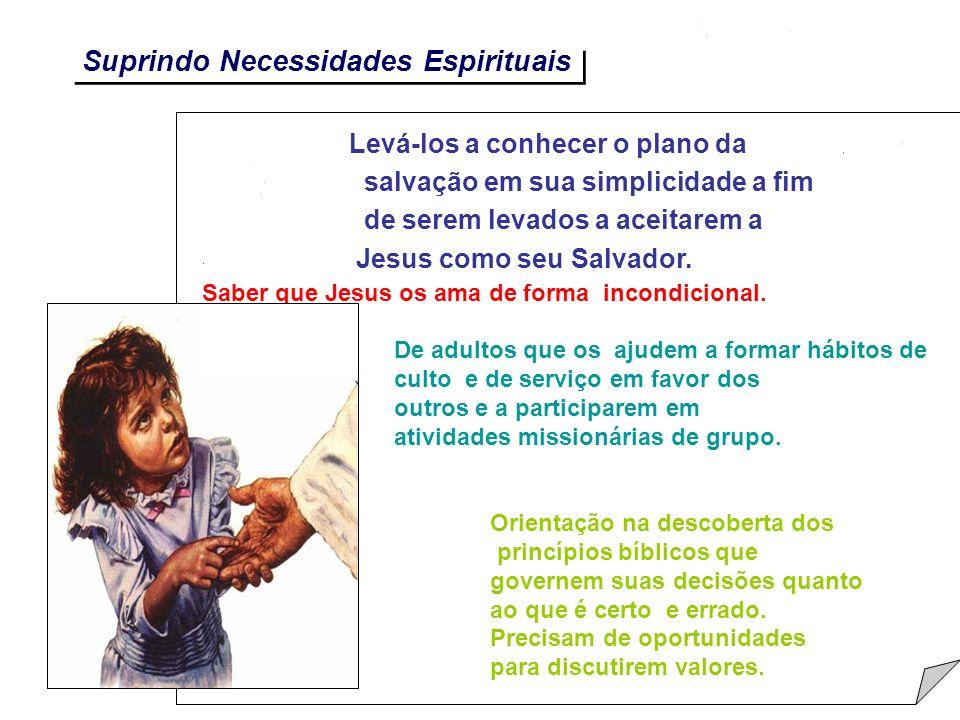 Suprindo Necessidades Espirituais Levá-los a conhecer o plano da salvação em sua simplicidade a fim de serem levados a aceitarem a Jesus como seu Salv