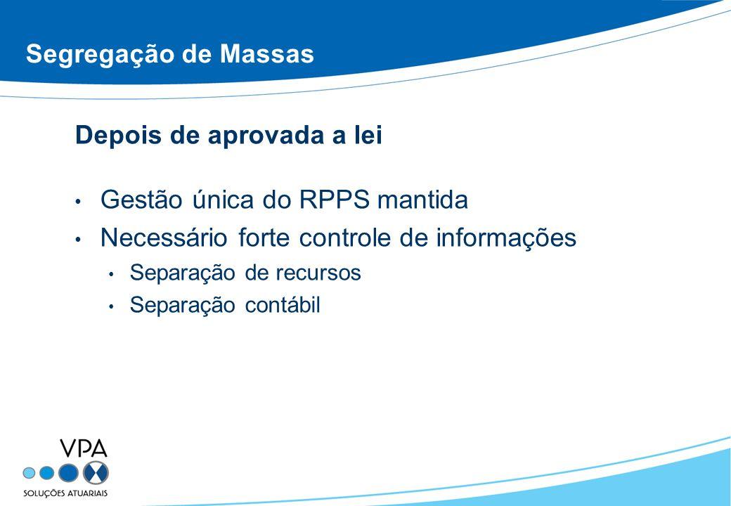 Segregação de Massas Depois de aprovada a lei Gestão única do RPPS mantida Necessário forte controle de informações Separação de recursos Separação contábil