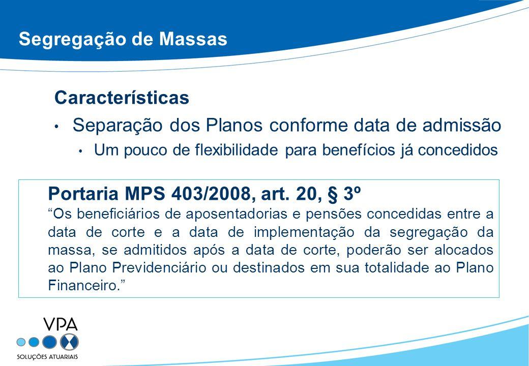 Segregação de Massas Características Separação dos Planos conforme data de admissão Um pouco de flexibilidade para benefícios já concedidos Portaria MPS 403/2008, art.