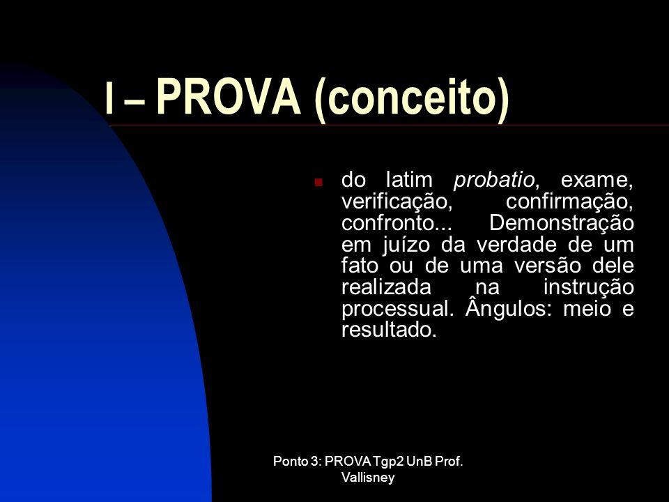 Ponto 3: PROVA Tgp2 UnB Prof. Vallisney I – PROVA (conceito) do latim probatio, exame, verificação, confirmação, confronto... Demonstração em juízo da