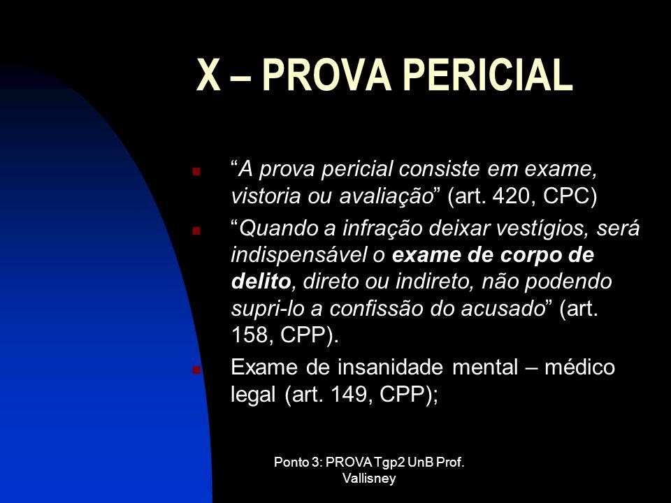 Ponto 3: PROVA Tgp2 UnB Prof. Vallisney X – PROVA PERICIAL A prova pericial consiste em exame, vistoria ou avaliação (art. 420, CPC) Quando a infração