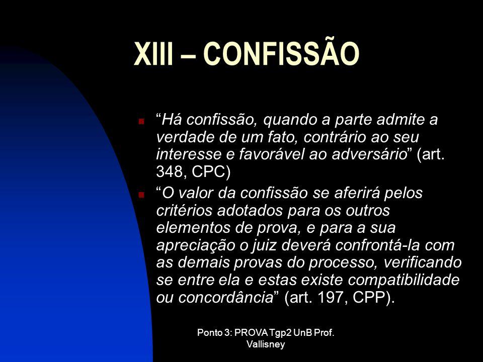 Ponto 3: PROVA Tgp2 UnB Prof. Vallisney XIII – CONFISSÃO Há confissão, quando a parte admite a verdade de um fato, contrário ao seu interesse e favorá