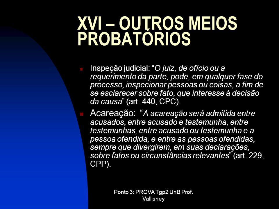 Ponto 3: PROVA Tgp2 UnB Prof. Vallisney XVI – OUTROS MEIOS PROBATÓRIOS Inspeção judicial: O juiz, de ofício ou a requerimento da parte, pode, em qualq