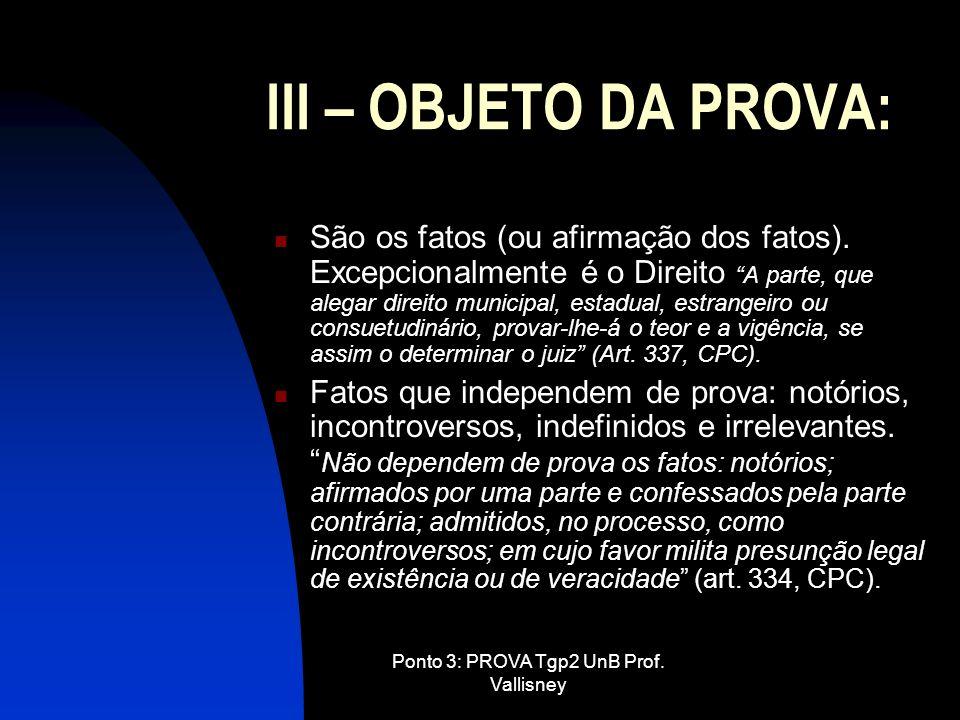 Ponto 3: PROVA Tgp2 UnB Prof. Vallisney III – OBJETO DA PROVA: São os fatos (ou afirmação dos fatos). Excepcionalmente é o Direito A parte, que alegar