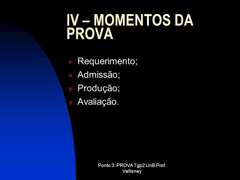Ponto 3: PROVA Tgp2 UnB Prof. Vallisney IV – MOMENTOS DA PROVA Requerimento; Admissão; Produção; Avaliação.