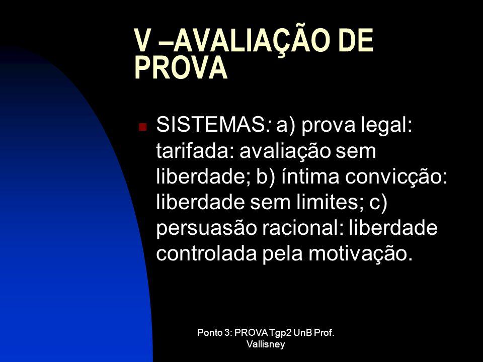 Ponto 3: PROVA Tgp2 UnB Prof. Vallisney V –AVALIAÇÃO DE PROVA SISTEMAS: a) prova legal: tarifada: avaliação sem liberdade; b) íntima convicção: liberd
