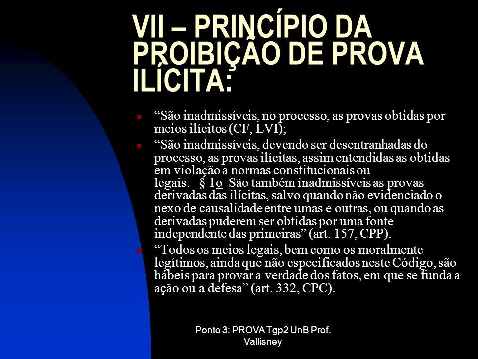 Ponto 3: PROVA Tgp2 UnB Prof. Vallisney VII – PRINCÍPIO DA PROIBIÇÃO DE PROVA ILÍCITA: São inadmissíveis, no processo, as provas obtidas por meios ilí