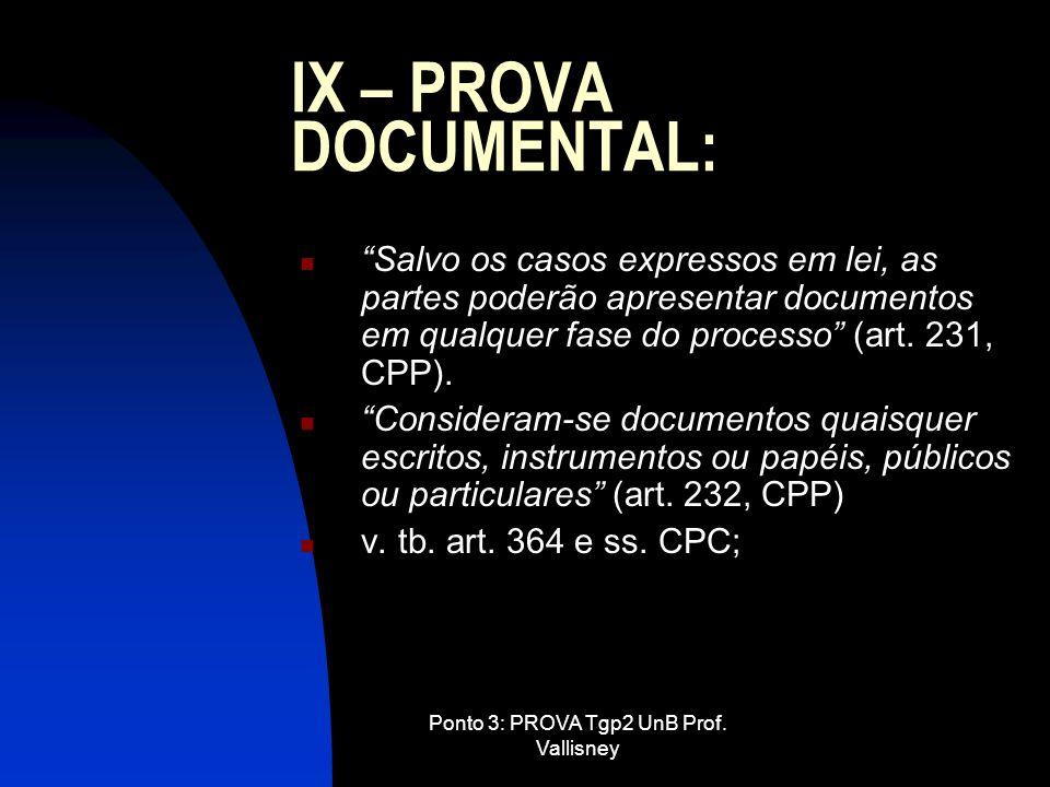 Ponto 3: PROVA Tgp2 UnB Prof. Vallisney IX – PROVA DOCUMENTAL: Salvo os casos expressos em lei, as partes poderão apresentar documentos em qualquer fa