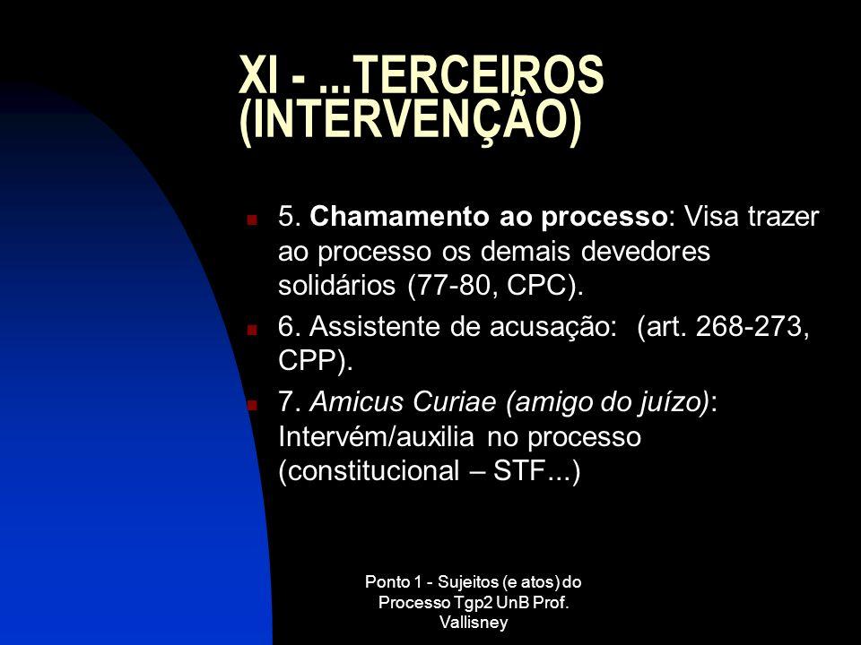 Ponto 1 - Sujeitos (e atos) do Processo Tgp2 UnB Prof. Vallisney XI -...TERCEIROS (INTERVENÇÃO) 5. Chamamento ao processo: Visa trazer ao processo os