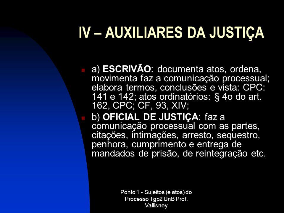 Ponto 1 - Sujeitos (e atos) do Processo Tgp2 UnB Prof. Vallisney IV – AUXILIARES DA JUSTIÇA a) ESCRIVÃO: documenta atos, ordena, movimenta faz a comun