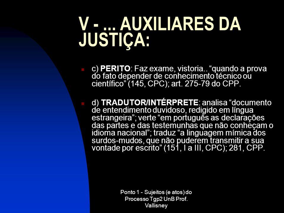 Ponto 1 - Sujeitos (e atos) do Processo Tgp2 UnB Prof. Vallisney V -... AUXILIARES DA JUSTIÇA: c) PERITO: Faz exame, vistoria.. quando a prova do fato