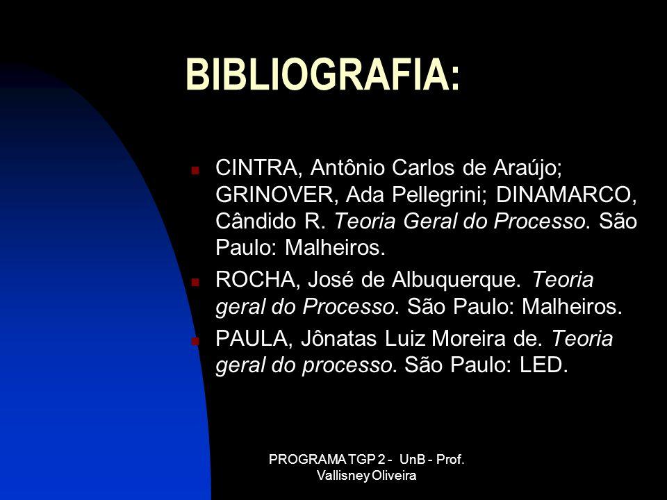 PROGRAMA TGP 2 - UnB - Prof. Vallisney Oliveira BIBLIOGRAFIA: CINTRA, Antônio Carlos de Araújo; GRINOVER, Ada Pellegrini; DINAMARCO, Cândido R. Teoria