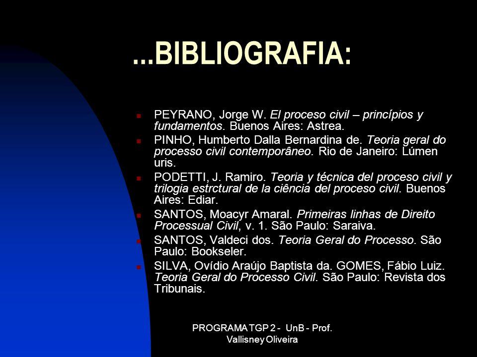 PROGRAMA TGP 2 - UnB - Prof. Vallisney Oliveira...BIBLIOGRAFIA: PEYRANO, Jorge W. El proceso civil – princípios y fundamentos. Buenos Aires: Astrea. P