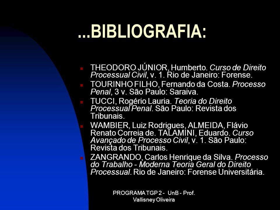 PROGRAMA TGP 2 - UnB - Prof. Vallisney Oliveira...BIBLIOGRAFIA: THEODORO JÚNIOR, Humberto. Curso de Direito Processual Civil, v. 1. Rio de Janeiro: Fo