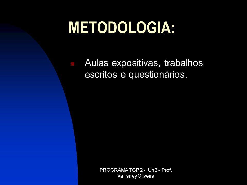 PROGRAMA TGP 2 - UnB - Prof. Vallisney Oliveira METODOLOGIA: Aulas expositivas, trabalhos escritos e questionários.