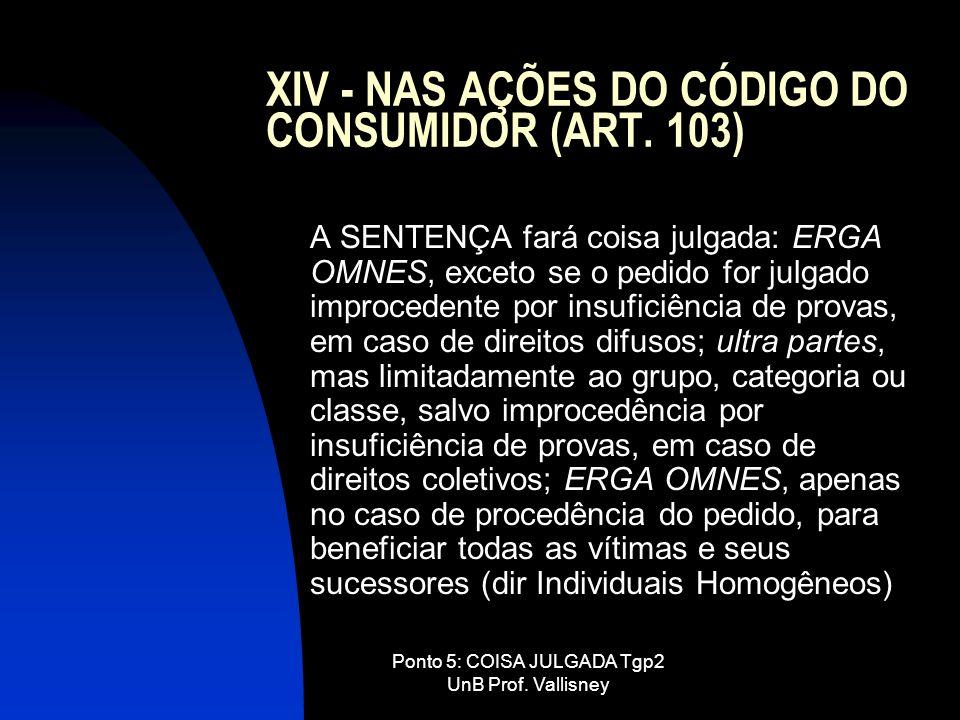Ponto 5: COISA JULGADA Tgp2 UnB Prof. Vallisney XIV - NAS AÇÕES DO CÓDIGO DO CONSUMIDOR (ART. 103) A SENTENÇA fará coisa julgada: ERGA OMNES, exceto s
