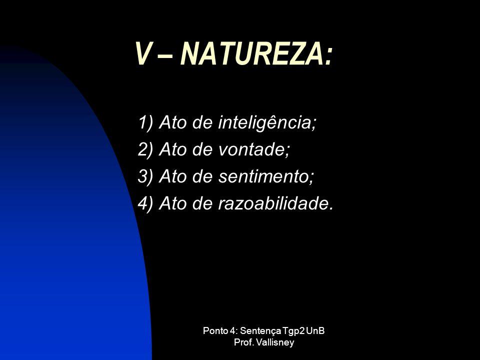 Ponto 4: Sentença Tgp2 UnB Prof. Vallisney V – NATUREZA: 1) Ato de inteligência; 2) Ato de vontade; 3) Ato de sentimento; 4) Ato de razoabilidade.