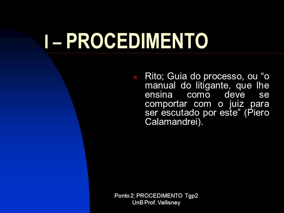 Ponto 2: PROCEDIMENTO Tgp2 UnB Prof. Vallisney I – PROCEDIMENTO Rito; Guia do processo, ou o manual do litigante, que lhe ensina como deve se comporta