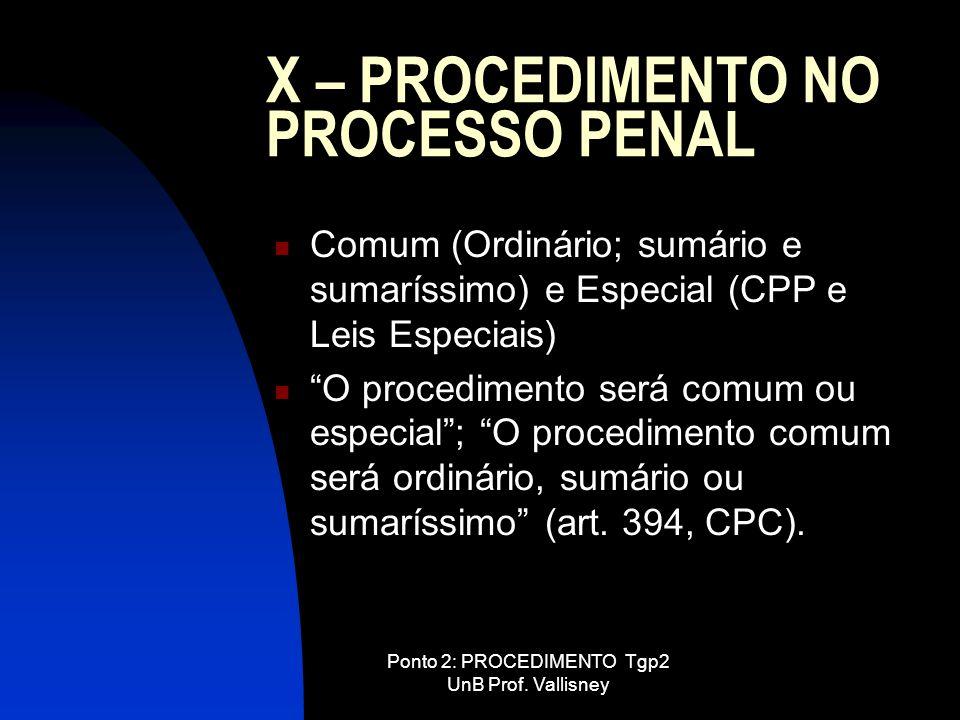 Ponto 2: PROCEDIMENTO Tgp2 UnB Prof. Vallisney X – PROCEDIMENTO NO PROCESSO PENAL Comum (Ordinário; sumário e sumaríssimo) e Especial (CPP e Leis Espe