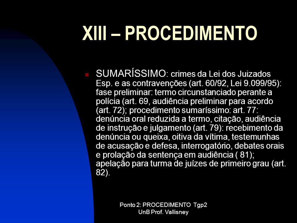 Ponto 2: PROCEDIMENTO Tgp2 UnB Prof. Vallisney XIII – PROCEDIMENTO SUMARÍSSIMO : crimes da Lei dos Juizados Esp. e as contravenções (art. 60/92, Lei 9
