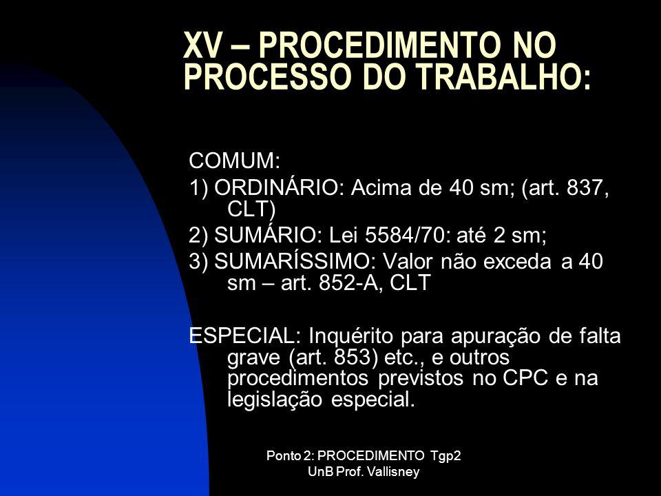 Ponto 2: PROCEDIMENTO Tgp2 UnB Prof. Vallisney XV – PROCEDIMENTO NO PROCESSO DO TRABALHO: COMUM: 1) ORDINÁRIO: Acima de 40 sm; (art. 837, CLT) 2) SUMÁ