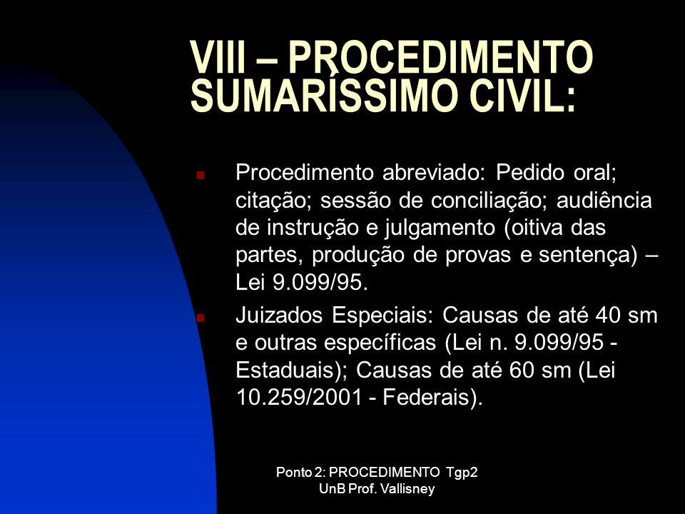 Ponto 2: PROCEDIMENTO Tgp2 UnB Prof. Vallisney VIII – PROCEDIMENTO SUMARÍSSIMO CIVIL: Procedimento abreviado: Pedido oral; citação; sessão de concilia