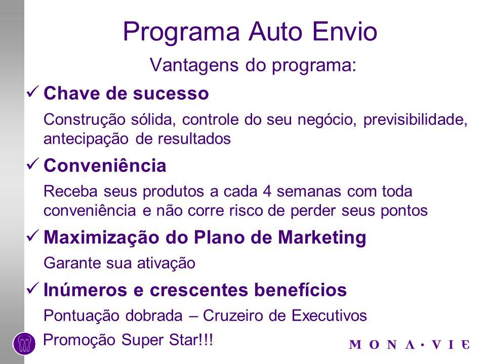 Programa Auto Envio Vantagens do programa: Chave de sucesso Construção sólida, controle do seu negócio, previsibilidade, antecipação de resultados Con