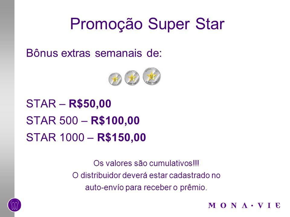 Promoção Super Star Bônus extras semanais de: STAR – R$50,00 STAR 500 – R$100,00 STAR 1000 – R$150,00 Os valores são cumulativos!!! O distribuidor dev