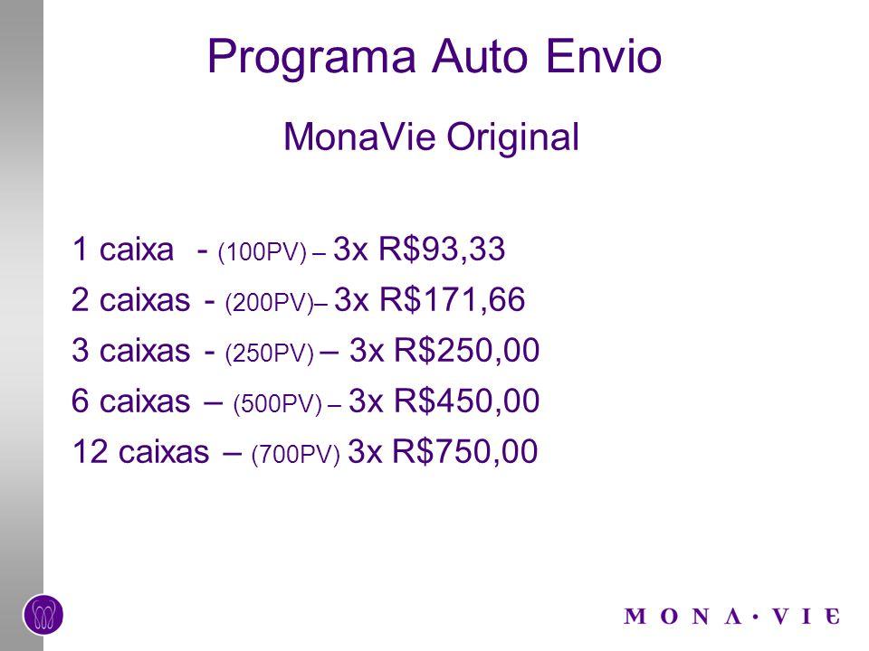 Programa Auto Envio MonaVie Original 1 caixa - (100PV) – 3x R$93,33 2 caixas - (200PV)– 3x R$171,66 3 caixas - (250PV) – 3x R$250,00 6 caixas – (500PV