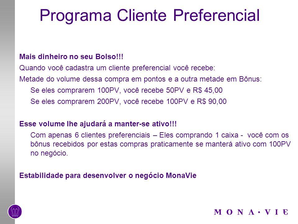Programa Cliente Preferencial Mais dinheiro no seu Bolso!!! Quando você cadastra um cliente preferencial você recebe: Metade do volume dessa compra em