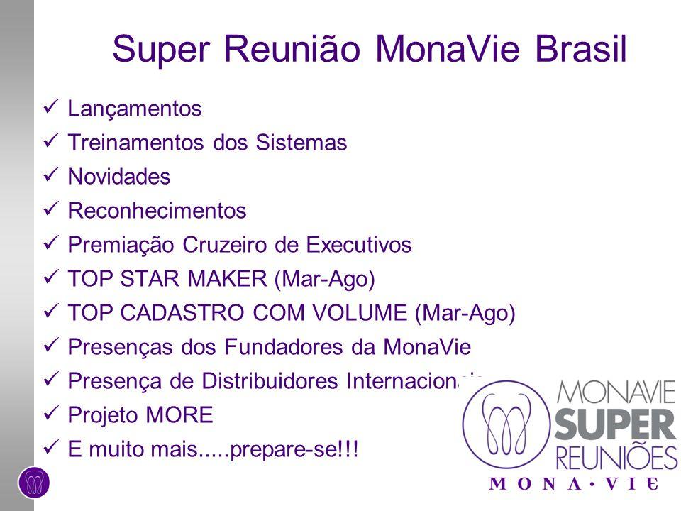 Super Reunião MonaVie Brasil Lançamentos Treinamentos dos Sistemas Novidades Reconhecimentos Premiação Cruzeiro de Executivos TOP STAR MAKER (Mar-Ago)