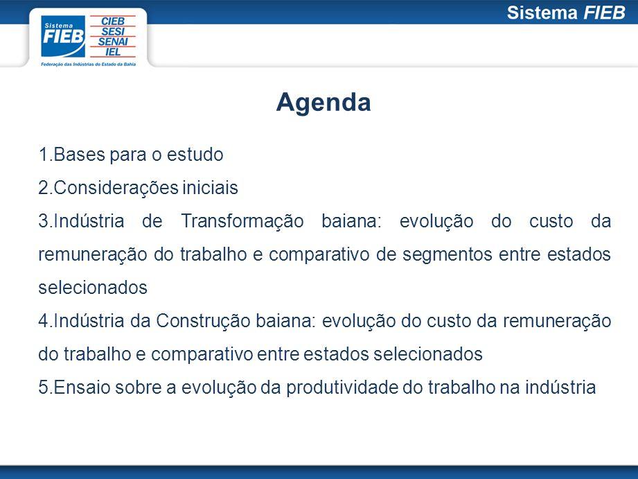 Agenda 1.Bases para o estudo 2.Considerações iniciais 3.Indústria de Transformação baiana: evolução do custo da remuneração do trabalho e comparativo