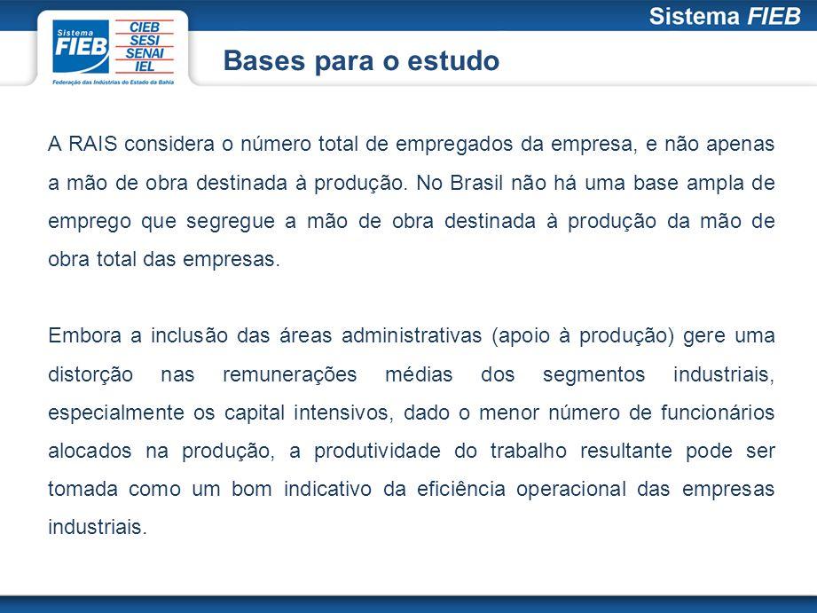 Bases para o estudo A RAIS considera o número total de empregados da empresa, e não apenas a mão de obra destinada à produção. No Brasil não há uma ba