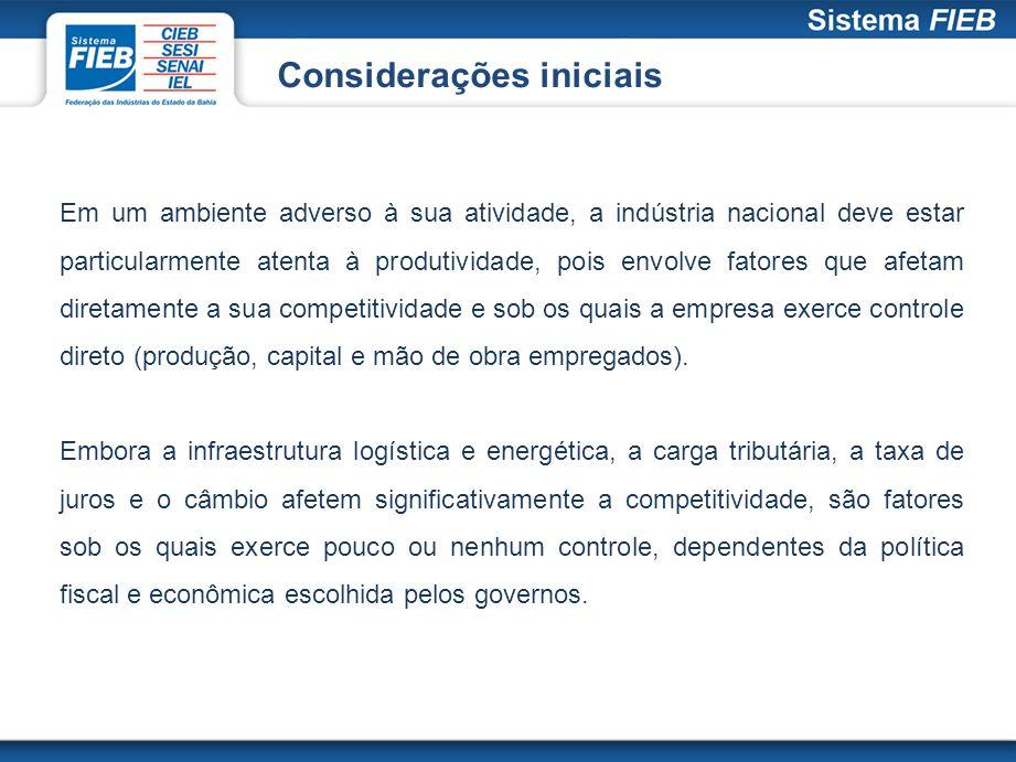 Considerações iniciais A recente elevação do consumo no mercado doméstico em um ambiente de baixa competitividade trabalha contra a indústria brasileira, e não a favor dela, pois alavanca o consumo de bens importados e acelera o processo de desindustrialização.