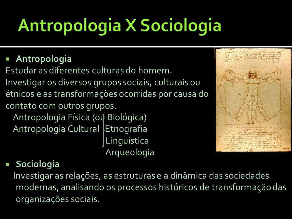 Antropologia Estudar as diferentes culturas do homem. Investigar os diversos grupos sociais, culturais ou étnicos e as transformações ocorridas por ca