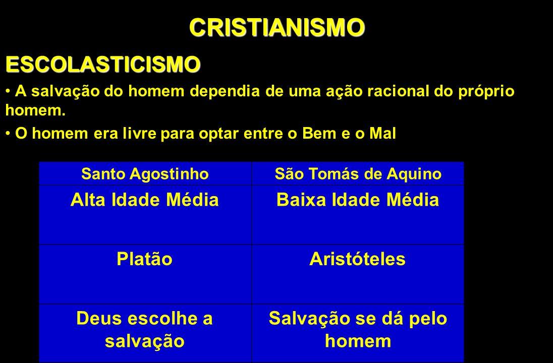CRISTIANISMOESCOLASTICISMO A salvação do homem dependia de uma ação racional do próprio homem. O homem era livre para optar entre o Bem e o Mal Santo