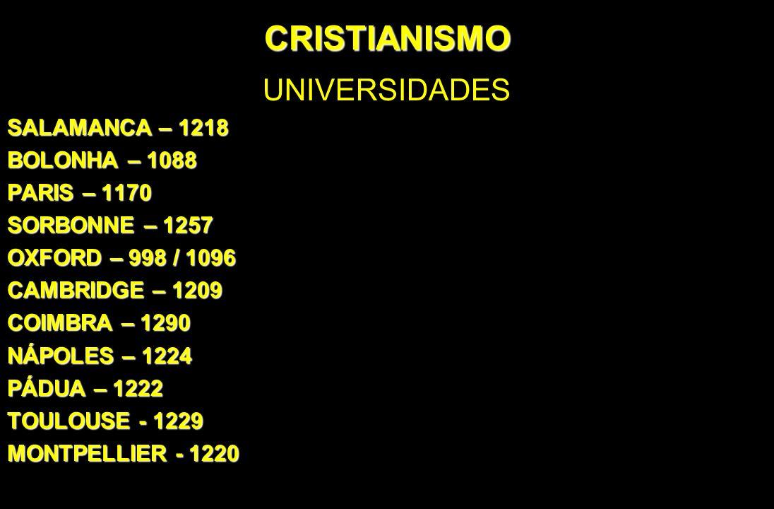 CRISTIANISMO UNIVERSIDADES SALAMANCA – 1218 BOLONHA – 1088 PARIS – 1170 SORBONNE – 1257 OXFORD – 998 / 1096 CAMBRIDGE – 1209 COIMBRA – 1290 NÁPOLES –