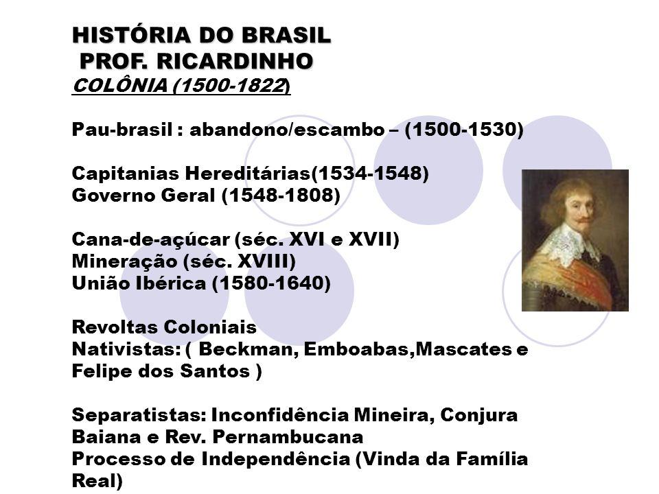 HISTÓRIA DO BRASIL PROF. RICARDINHO PROF. RICARDINHO COLÔNIA (1500-1822) Pau-brasil : abandono/escambo – (1500-1530) Capitanias Hereditárias(1534-1548