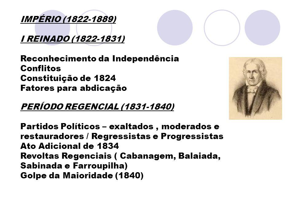 IMPÉRIO (1822-1889) I REINADO (1822-1831) Reconhecimento da Independência Conflitos Constituição de 1824 Fatores para abdicação PERÍODO REGENCIAL (183