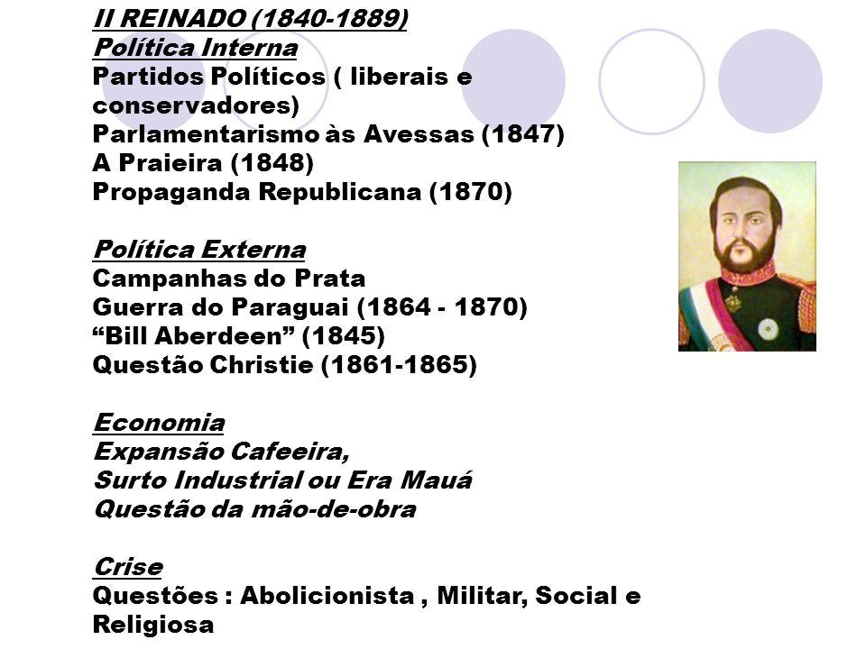 II REINADO (1840-1889) Política Interna Partidos Políticos ( liberais e conservadores) Parlamentarismo às Avessas (1847) A Praieira (1848) Propaganda